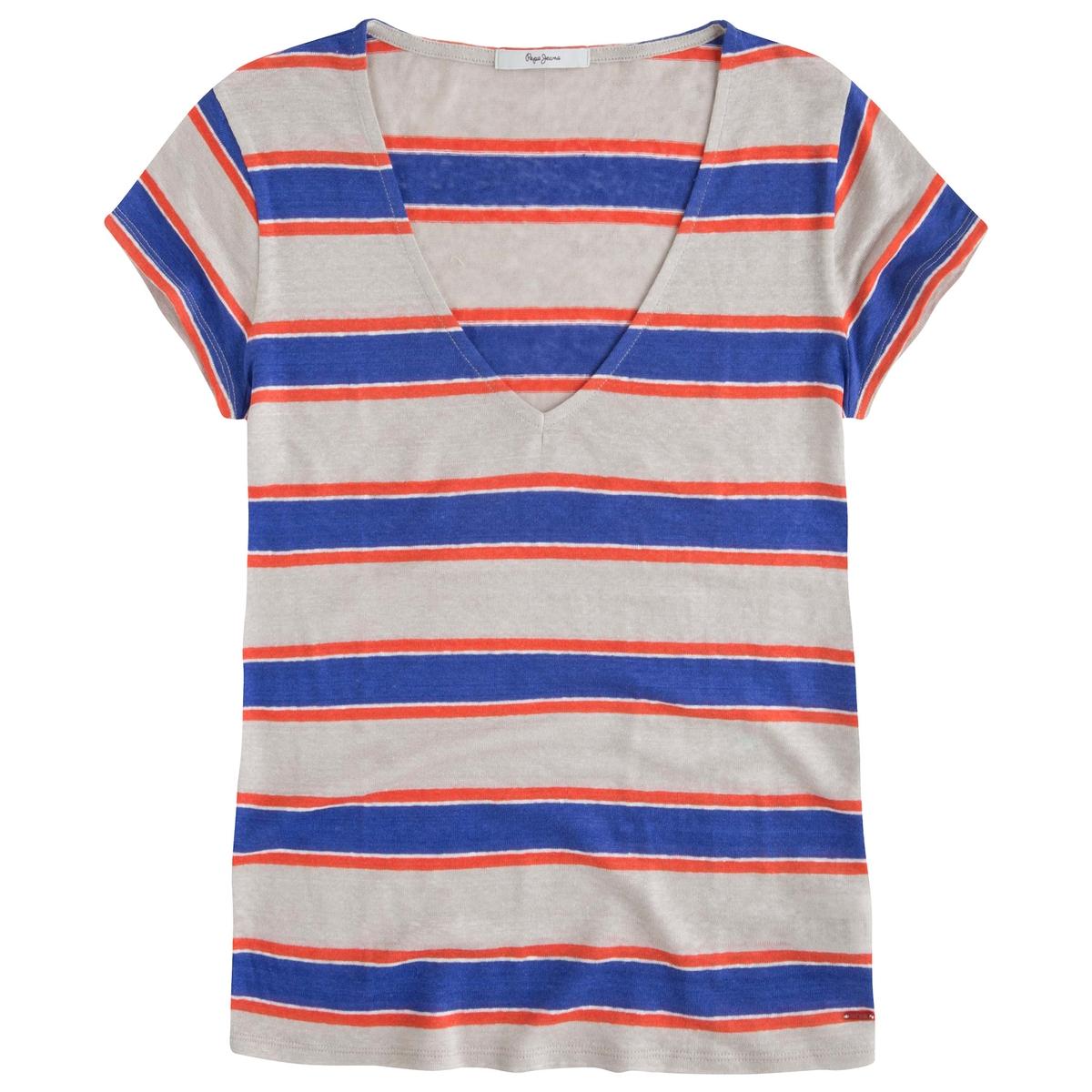 Футболка Celeste, 100% ленФутболка с рисунком в полоску Celeste от Pepe jeans. 100% лен. Короткие рукава.Состав и описаниеМарка: PEPE JEANS.Модель: Celeste.Материалы: 100% лен.УходСтирать при 30°Cс вещами подобных цветов.<br><br>Цвет: в полоску<br>Размер: L