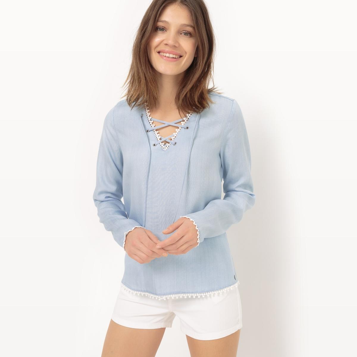 Блузка с вырезом и шнуровкойМатериал : 100% лиоцелл    Длина рукава : длинные рукава  Форма воротника : V-образный вырез  Длина блузки : стандартная   Рисунок : однотонная модель<br><br>Цвет: голубой