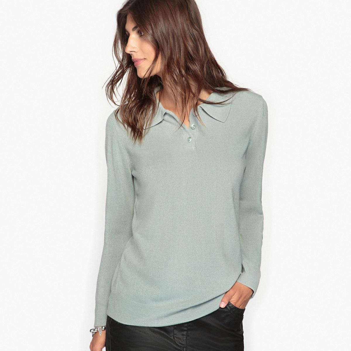 Пуловер с воротником-поло из ткани, напоминающей на ощупь кашемир