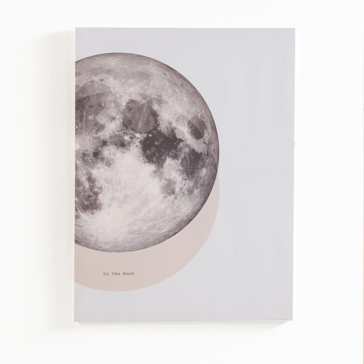 Картина с рисунком луны to the moonХарактеристики картины To the Moon :Картина на холсте в раме из сосны. Крепится на стену.1 кронштейн для крепления на стену (винты и дюбели продаются отдельно)Размеры картины to the moon :Панно : В.80 x 60 x 1,8 см.<br><br>Цвет: серый/ розовый