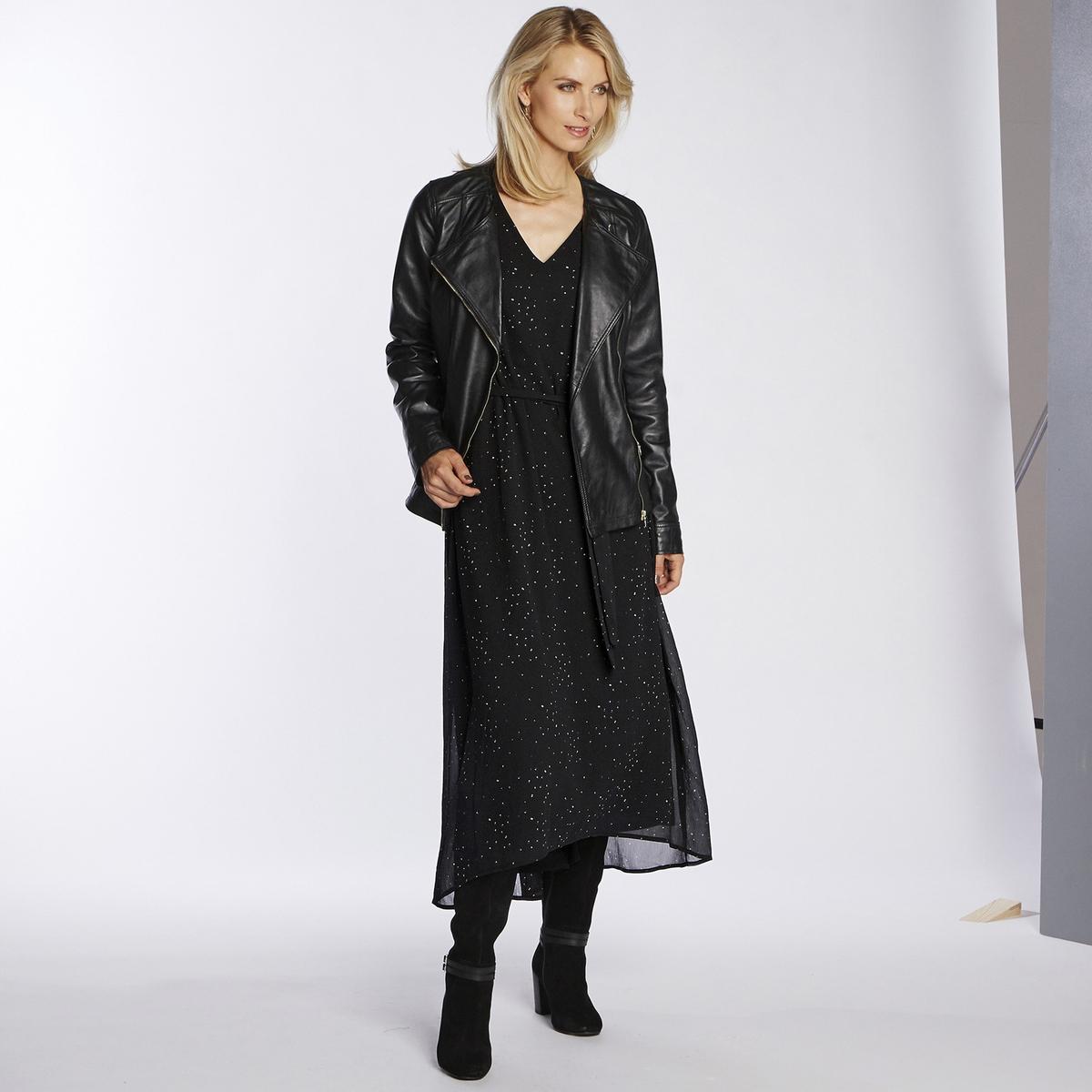 Imagen principal de producto de Vestido largo en asimetría, estampado, de manga larga - Anne weyburn
