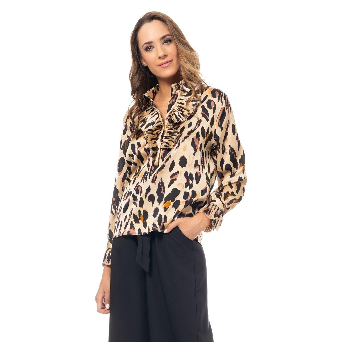 Chemise imprimé léopard manches longues