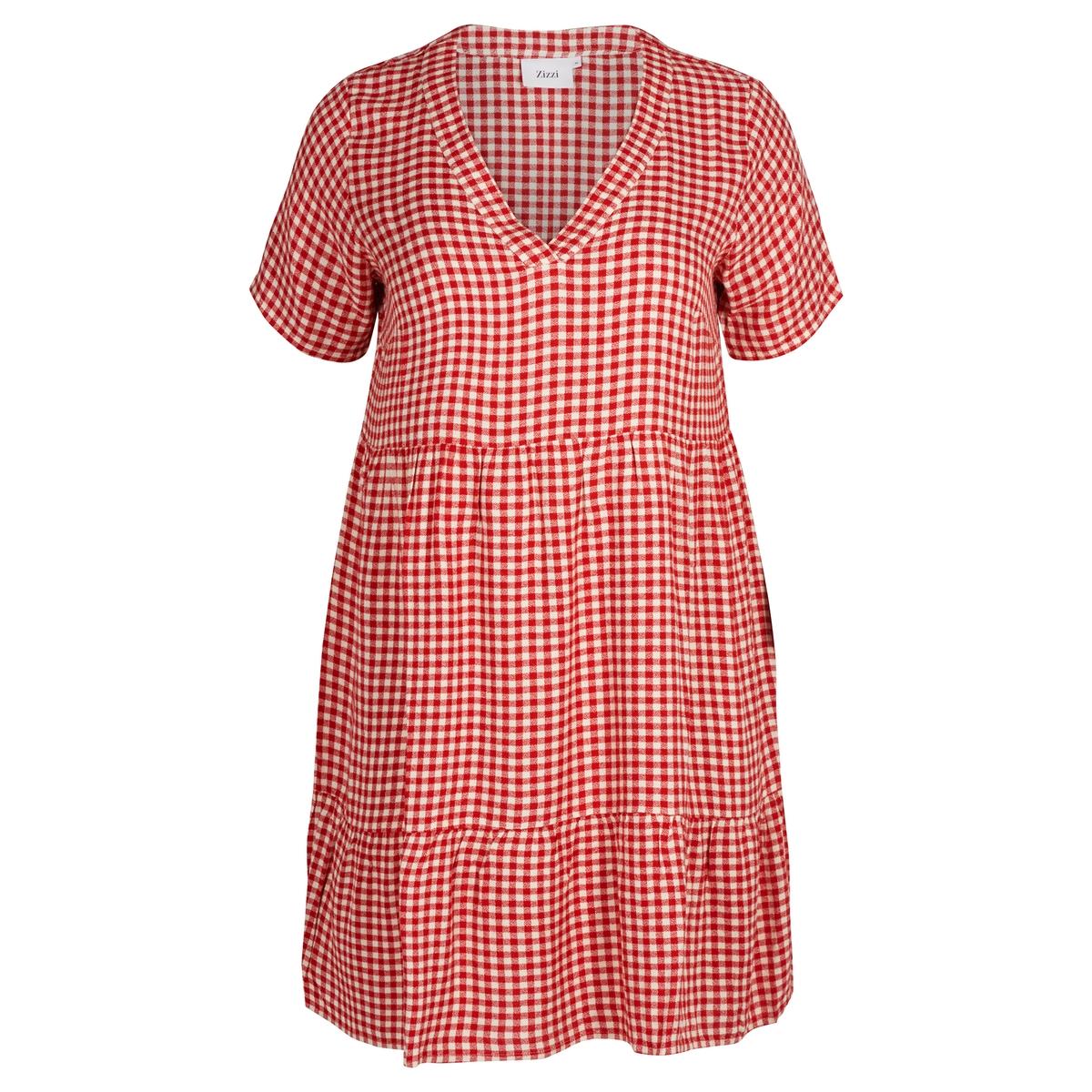 Платье расклешенное средней длины с короткими рукавамиОписание:В этом платье есть все, чтобы нам понравиться .Детали •  Форма : расклешенная •  Длина до колен •  Короткие рукава    •   V-образный вырез •  Рисунок в клеткуСостав и уход •  100% вискоза •  Следуйте рекомендациям по уходу, указанным на этикетке изделияТовар из коллекции больших размеров<br><br>Цвет: красный
