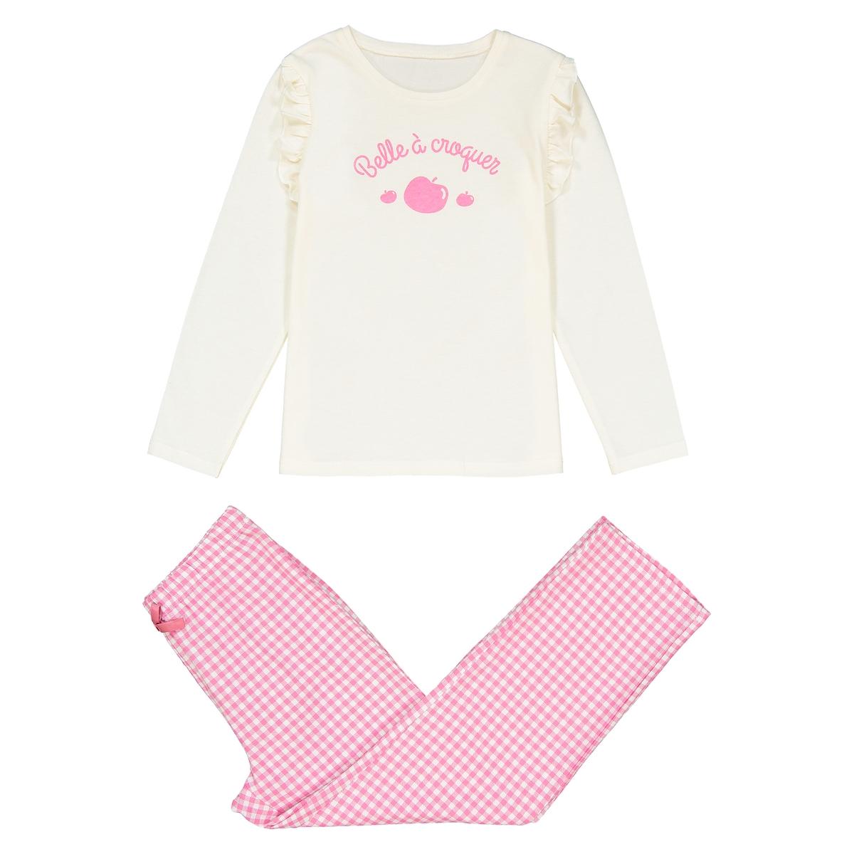 Пижама с длинными рукавами и принтом, 3-12 лет