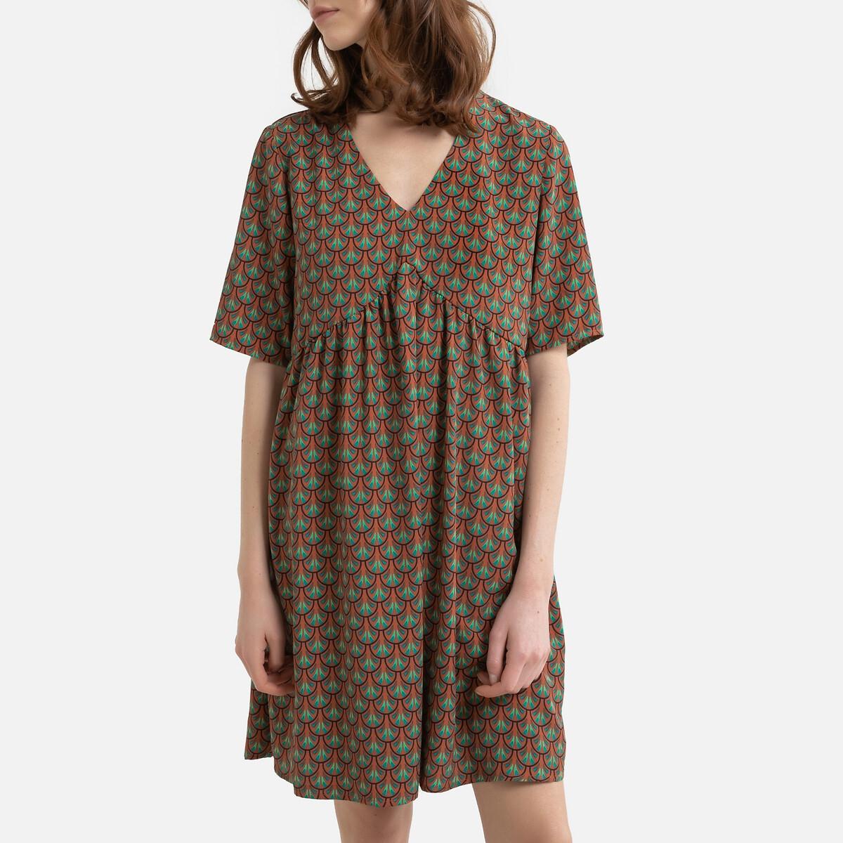 Платье LaRedoute Короткое расклешенное V-образный вырез с принтом XS оранжевый