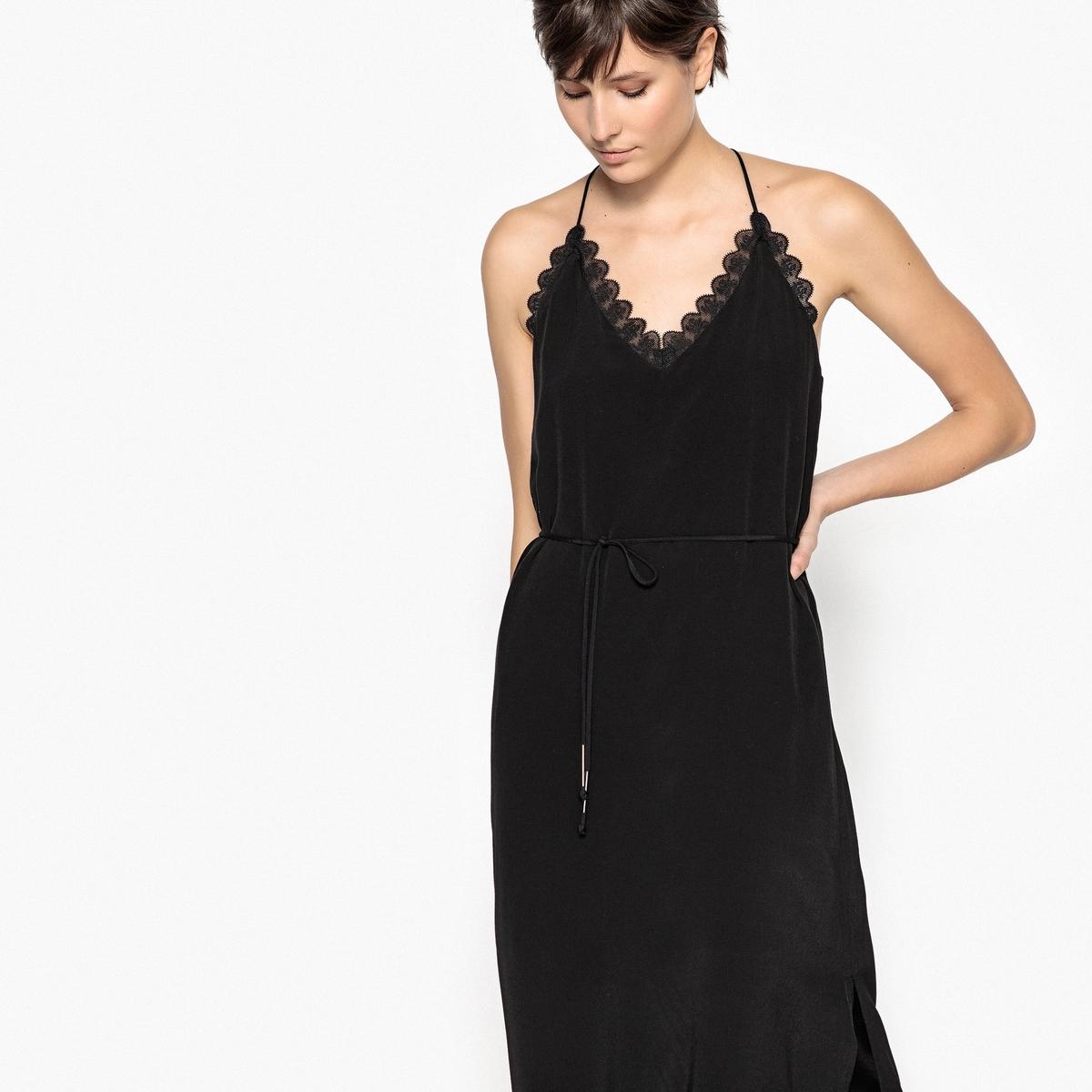 Фото - Платье-миди с V-образным вырезом, тонкими бретелями и кружевом v persie van basten 556688