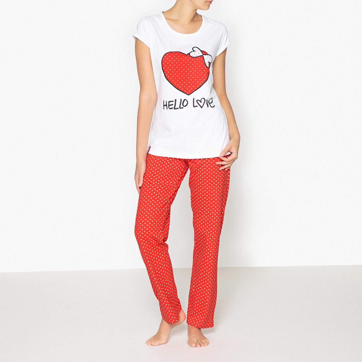 Пижама с принтом, LoveliesРисунок в виде большого сердца, принт из маленьких сердечек... в этой пижаме Lovelies, вы будете окружены любовью !Состав и описаниеРаздельная пижама, верх с принтом, круглый вырез, короткие рукава  .Брюки с завязками и эластичным поясом .Марка : LoveliesМатериал : 100% хлопок Уход: :Машинная стирка при 30 °С на деликатном режиме с вещами схожих цветов.Стирать и гладить при низкой температуре с изнаночной стороны.Машинная сушка запрещена.<br><br>Цвет: набивной рисунок<br>Размер: L.M