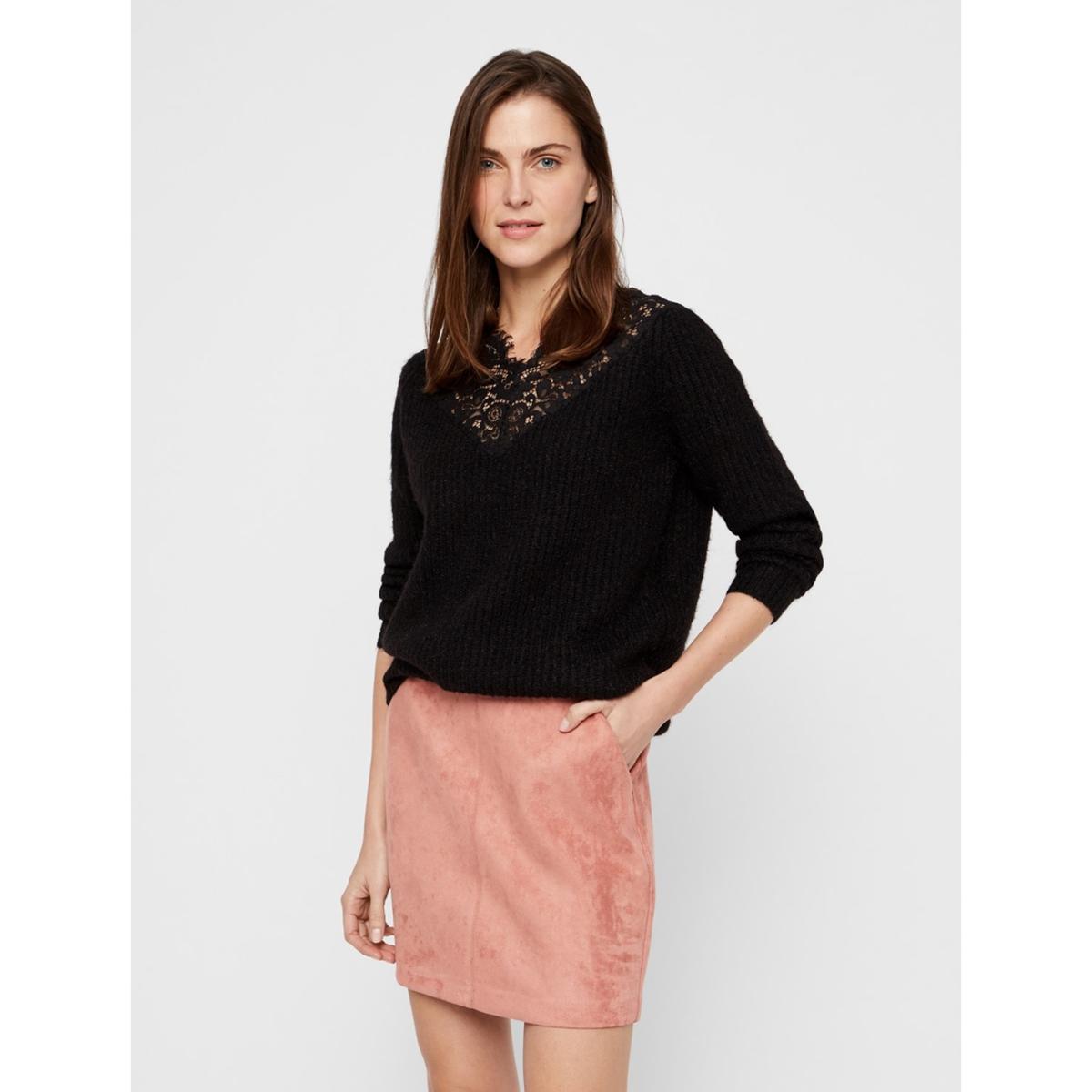 Пуловер La Redoute С V-образным вырезом с кружевом XS черный