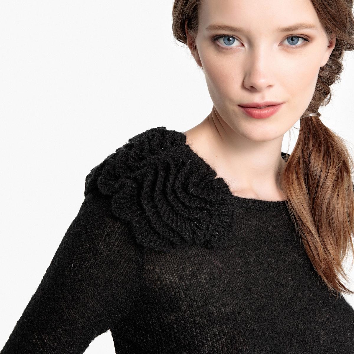 Пуловер с круглым вырезом и деталями в виде цветов MADEMOISELLE R