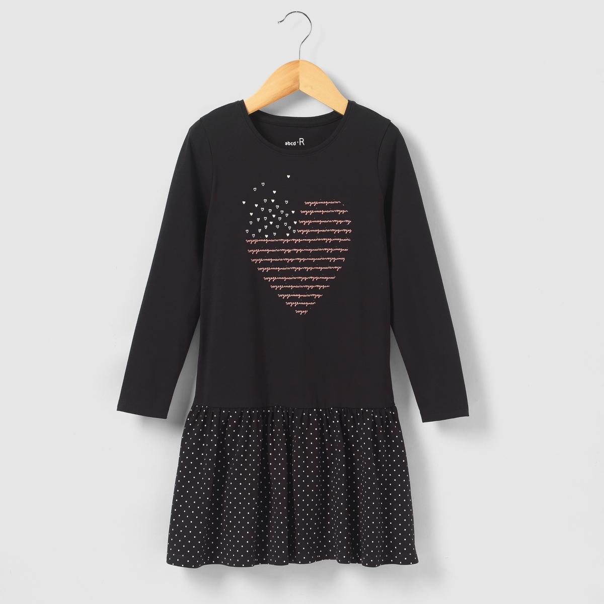Платье с принтом сердце, 3-12 лет