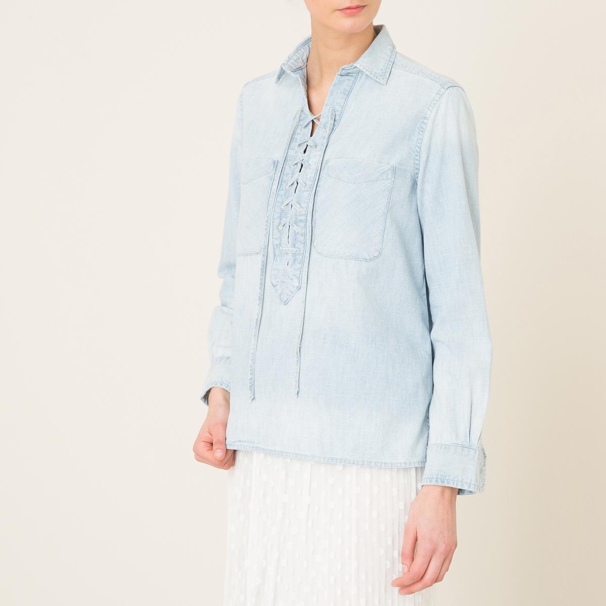 Блузка со шнуровкойСостав и описание Материал : 100% хлопокМарка : Denim and Supply Ralph Lauren<br><br>Цвет: индиго