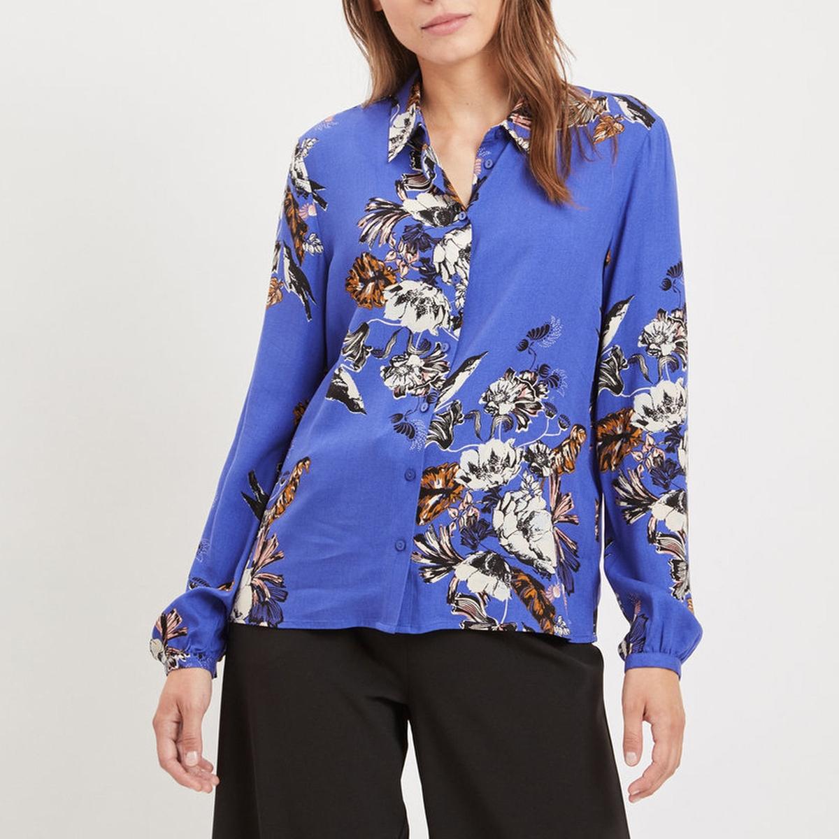 Рубашка струящаяся с цветочным принтом и длинными рукавами