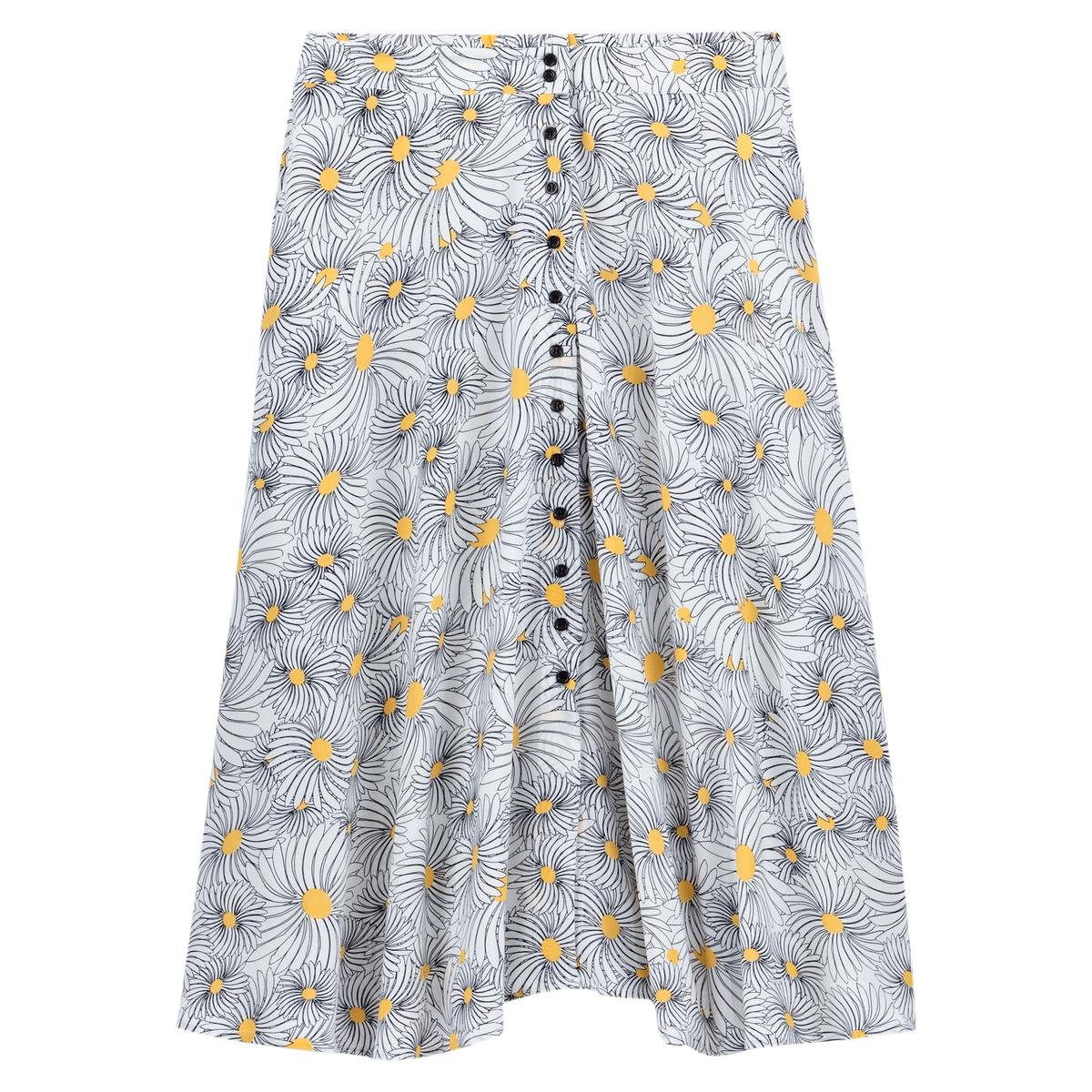 Falda larga abotonada con estampado de flores
