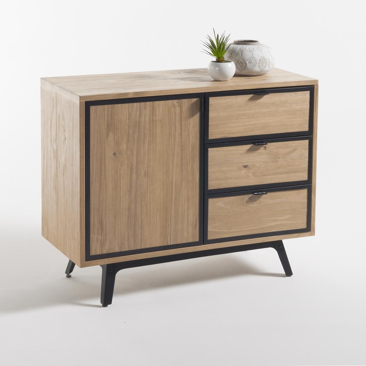 Шкаф-буфет LaRedoute С 1 дверцей и 3 ящиками Daffo единый размер каштановый