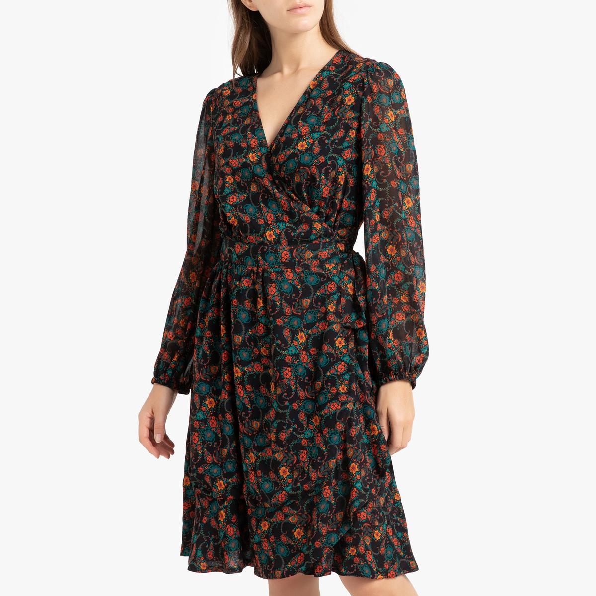 Платье La Redoute С запахом с принтом с длинными рукавами ZANIA 40 (FR) - 46 (RUS) разноцветный