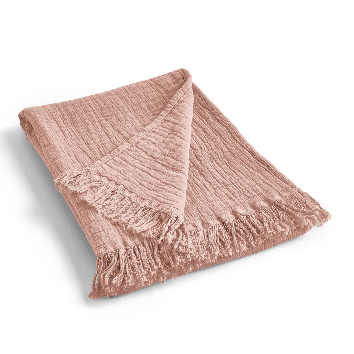 Плед LaRedoute Из хлопчатобумажной газовой ткани Aska 180 x 230 см розовый