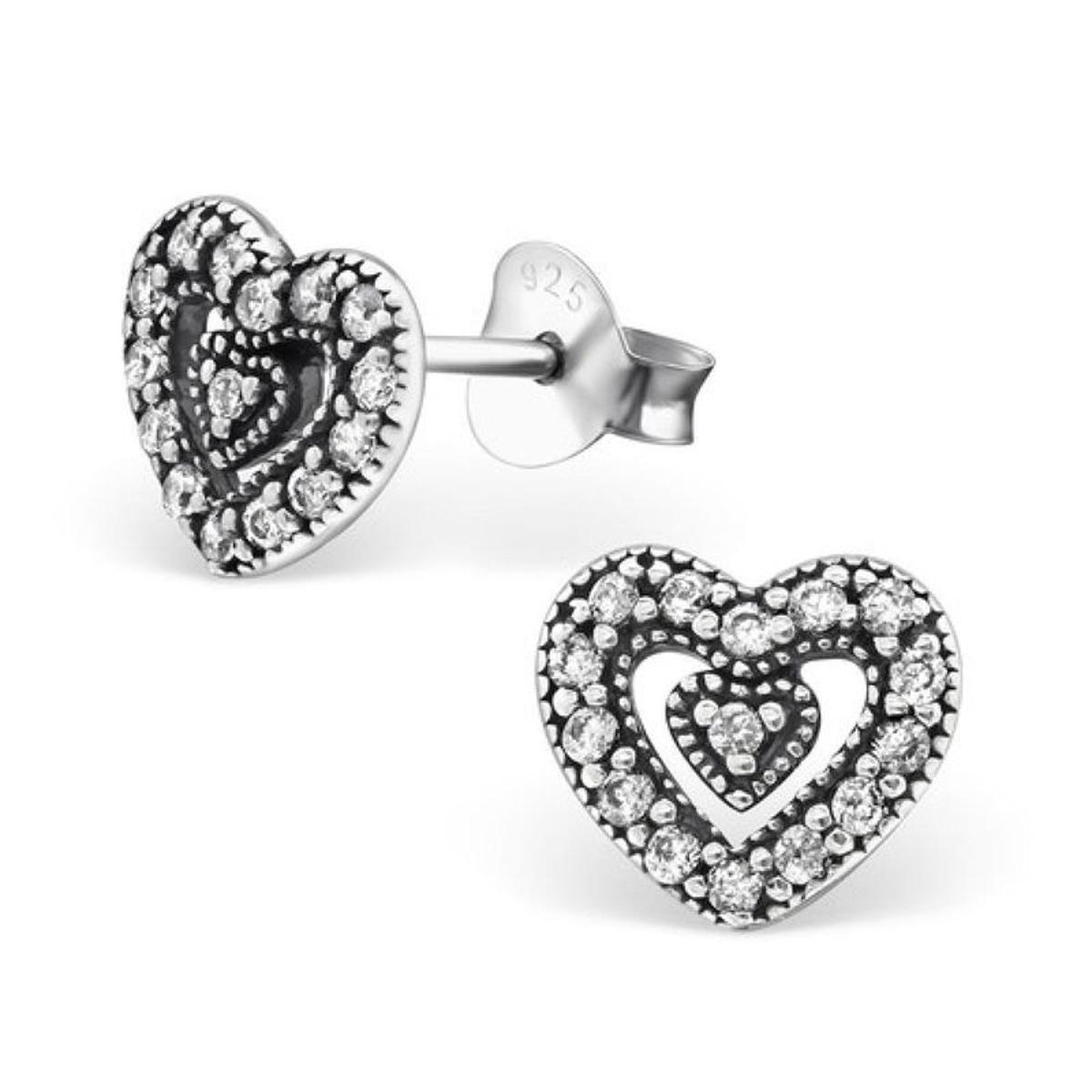 Boucles d'oreilles Coeur dans Coeur Double Coeur Sertis de Blanc Argent 925