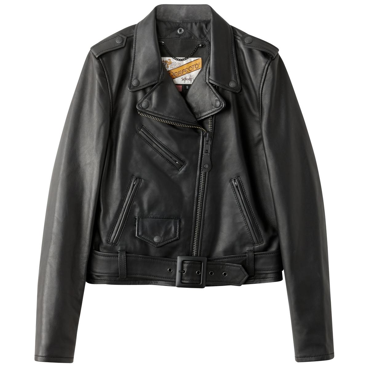 Куртка кожаная на молнии и со съемным поясомМатериал : 100% кожа Тип застежки : застежка на молнию.  Форма воротника : воротник-поло, рубашечный. Длина : укороченная модельРисунок : Однотонная модель   Особенность изделия: С поясом<br><br>Цвет: черный<br>Размер: S