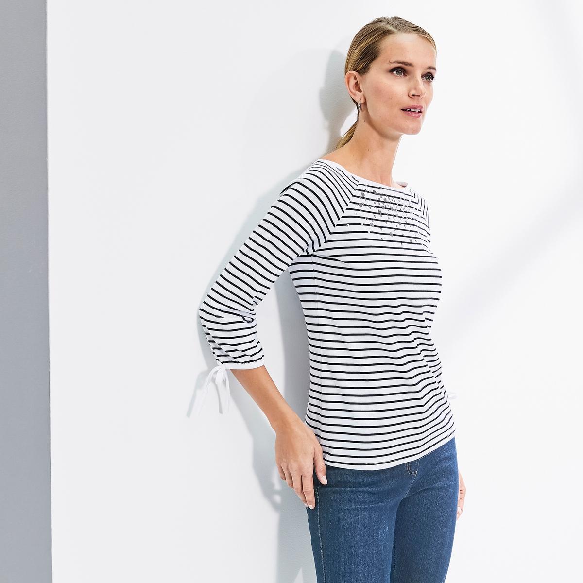 Imagen secundaria de producto de Camiseta a rayas, cuello barco, manga 3/4 - Anne weyburn