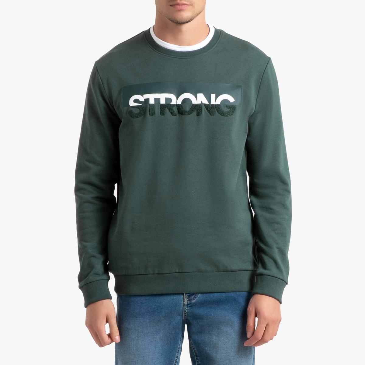 Свитшот La Redoute С круглым вырезом S зеленый свитшот la redoute с круглым вырезом и вышивкой s черный