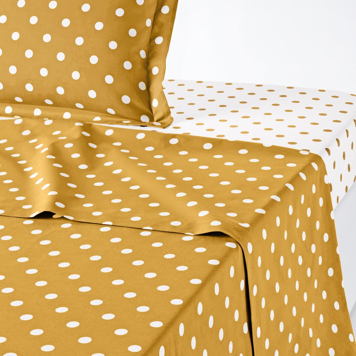 Фото - Простыня LaRedoute 100 хлопок с принтом в горошек Clarisse 180 x 290 см желтый простыня la redoute натяжная стираный хлопок semeru 180 x 290 см черный