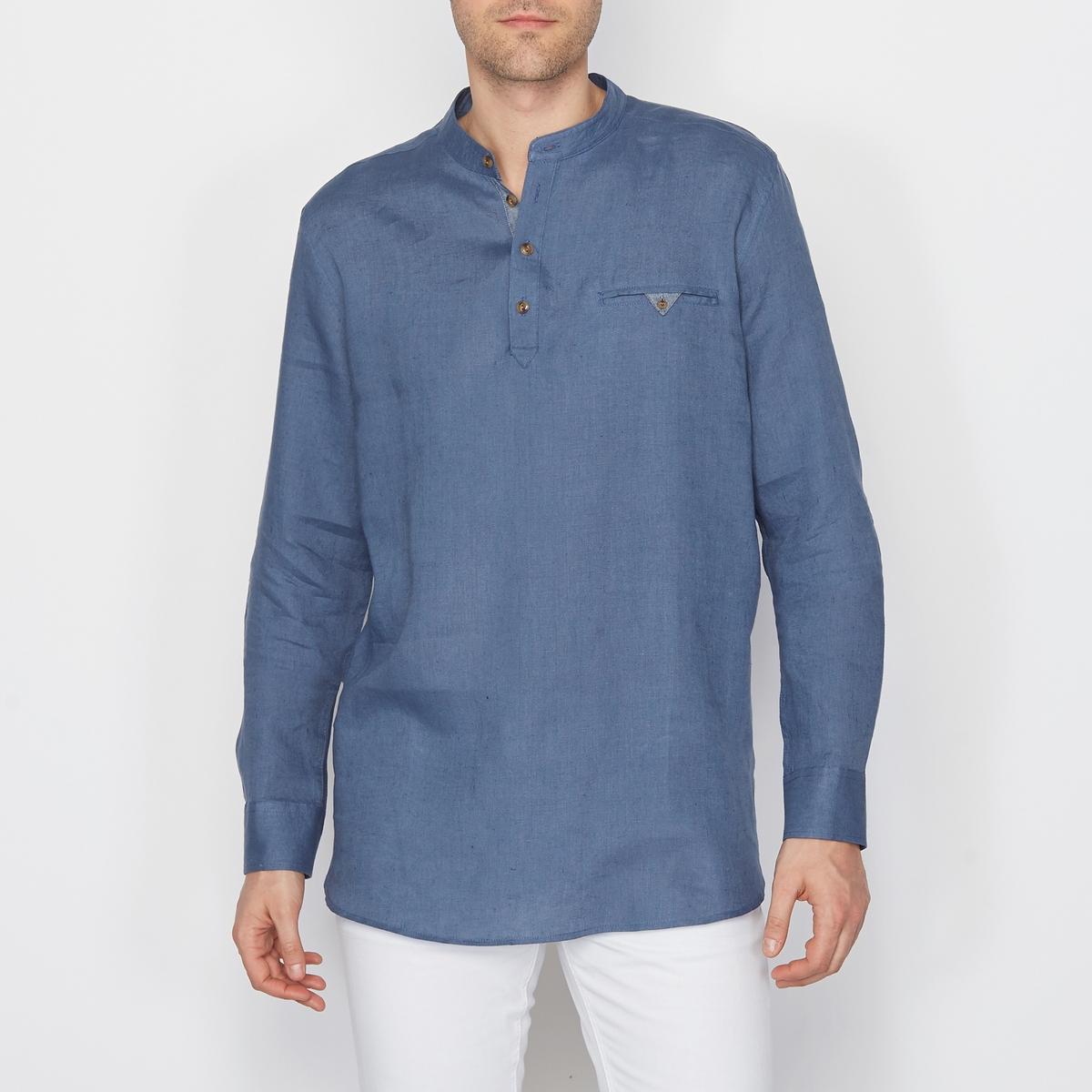 Рубашка из 100% льна, свободный покрой