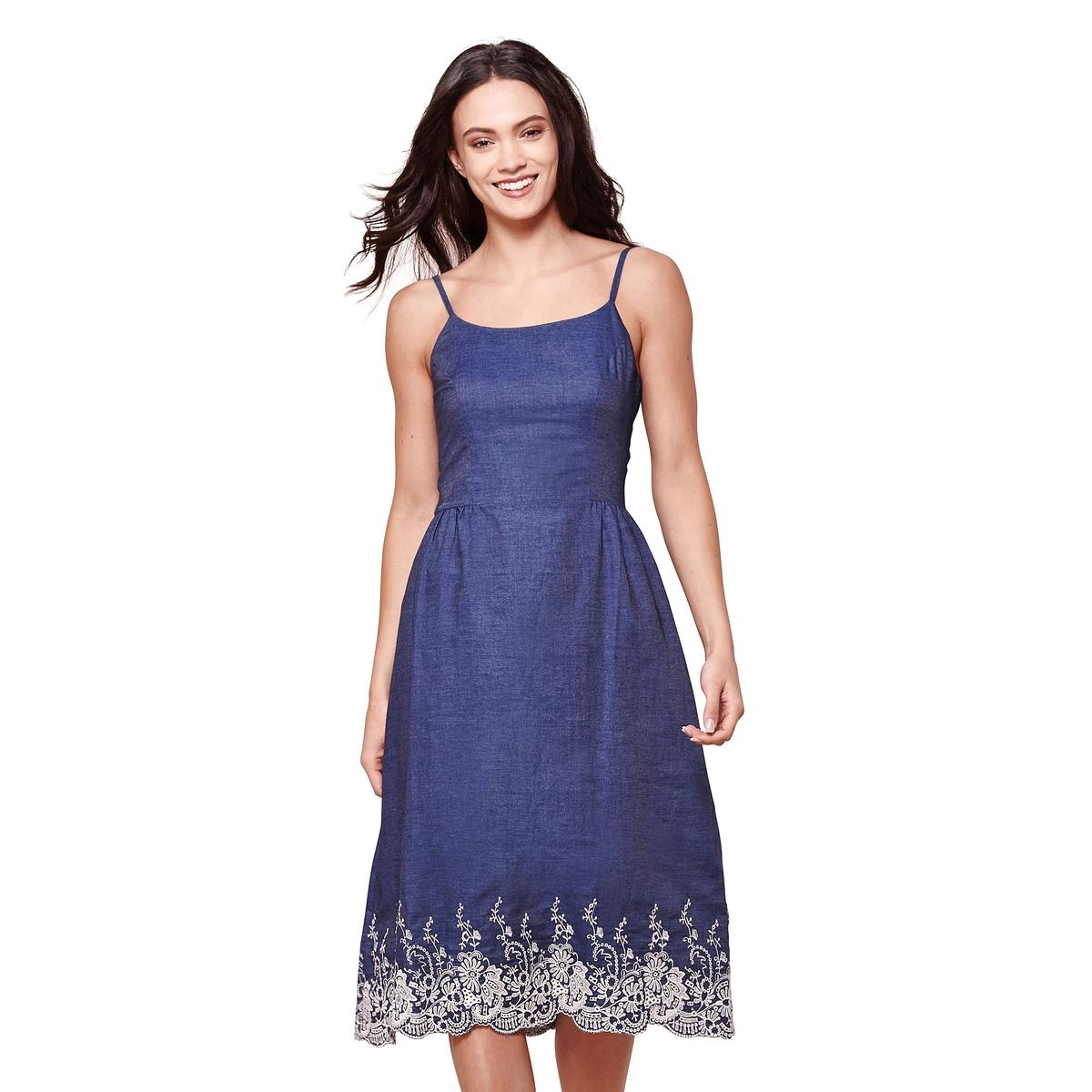 Платье длинное с тонкими бретелями из кружева, 100% хлопок платье yumi yumi платье