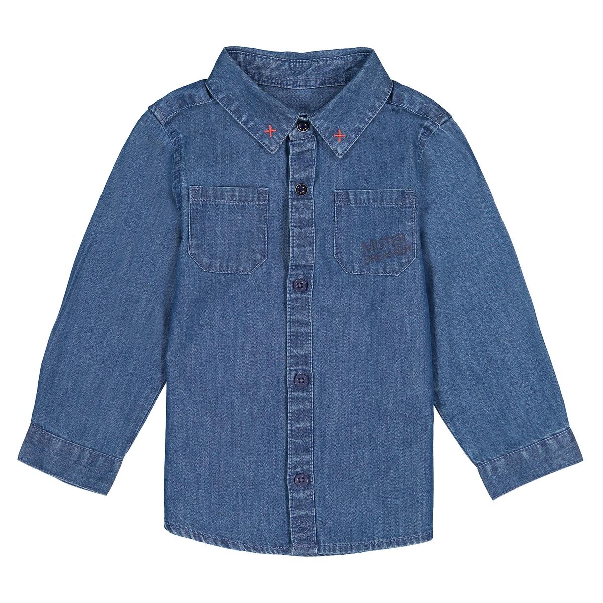 Рубашка джинсовая с длинными рукавами, 1 мес. - 3 года футболка с длинными рукавами 1 мес 3 лет
