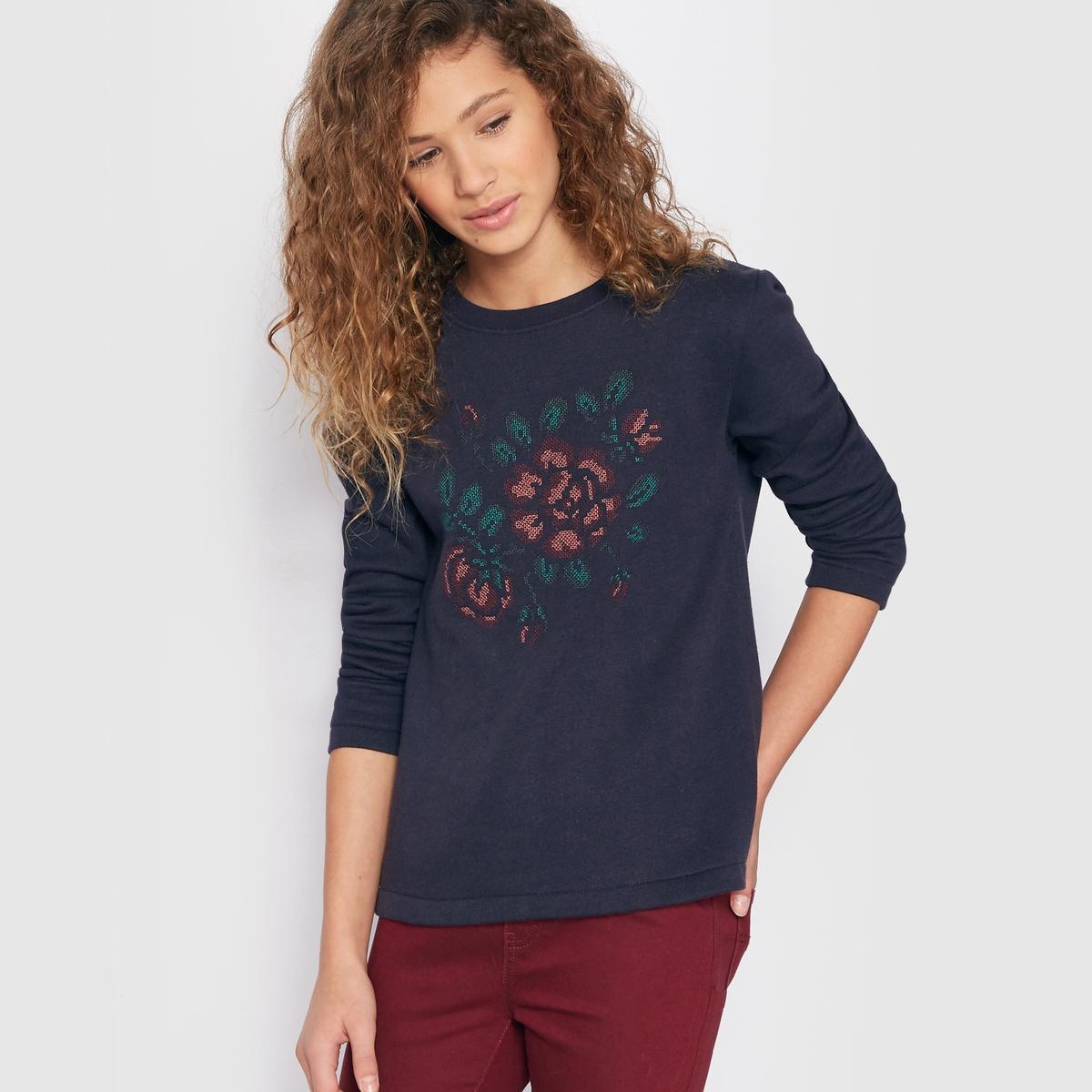Пуловер с вырезом трапеция и вышивкой в виде цветов, 10-16 лет