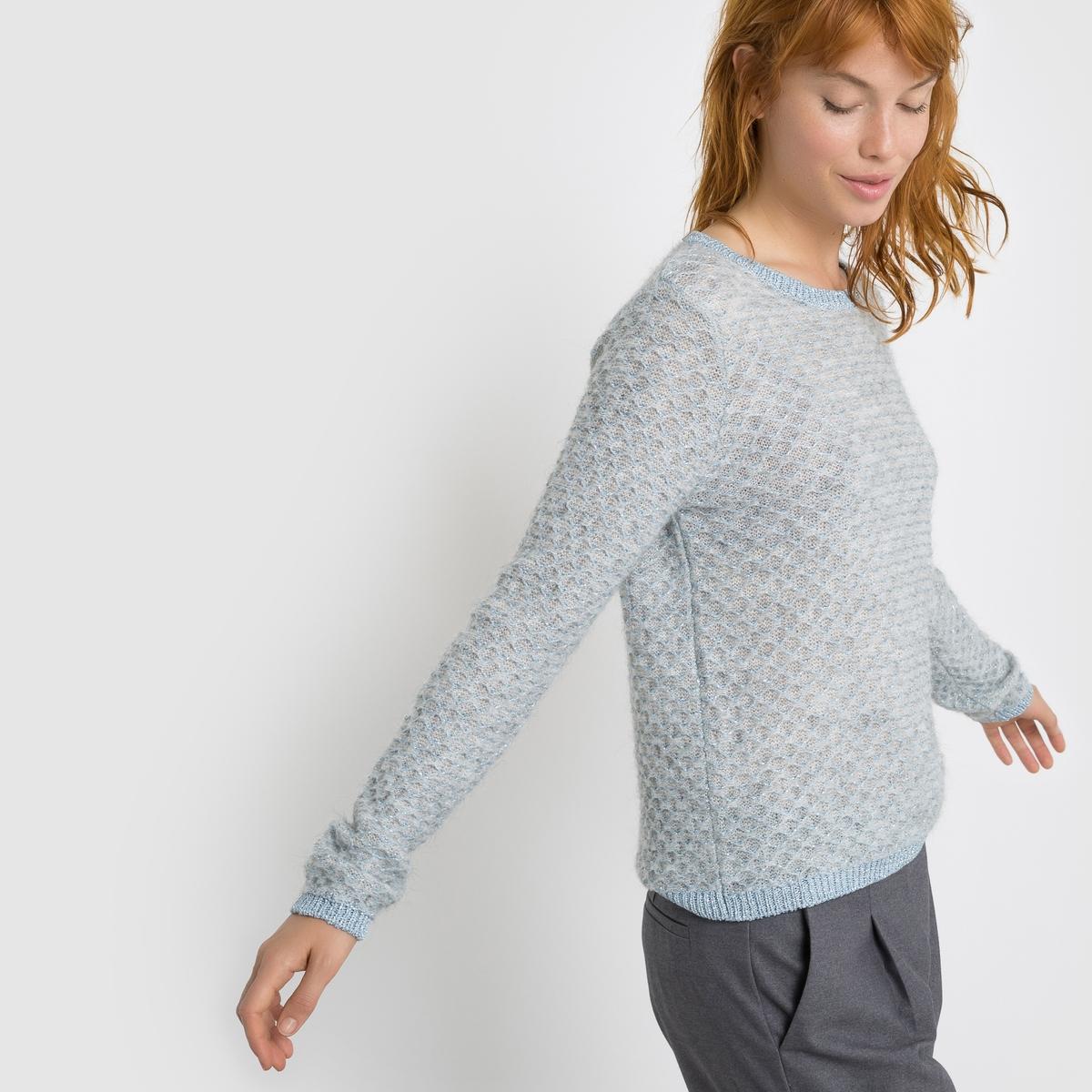 Пуловер жаккардовыйЖаккардовый пуловер. Трикотаж с легким блестящим эффектом . Закругленный вырез. Отделка в рубчик выреза, манжет и низа .Состав и описание : Материал         42% акрила, 30% полиамида, 14% шерсти, 14 шерсти мериноса                                 (края : 80% вискозы, 20% полиэстера)Длина      57 см Бренд: Mademoiselle RУход :Машинная стирка при 30° в деликатном режимеСтирать и сушить с изнаночной стороныМашинная сушка запрещенаГладить на очень низкой температуре  ВНИМАНИЕ: модель розового цвета имеет по ширине такую же окантовку, что и модель голубого цвета.<br><br>Цвет: небесно-голубой<br>Размер: 34/36 (FR) - 40/42 (RUS)