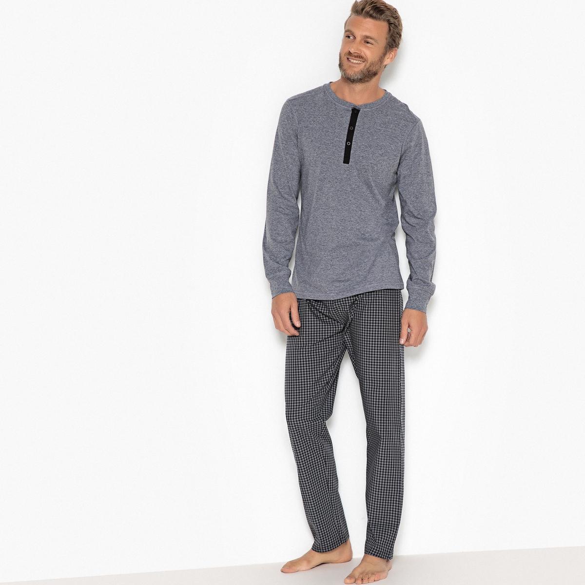 Пижама с футболкой с длинными рукавами и круглым вырезом с разрезом спереди футболка с круглым вырезом с разрезом спереди и длинными рукавами