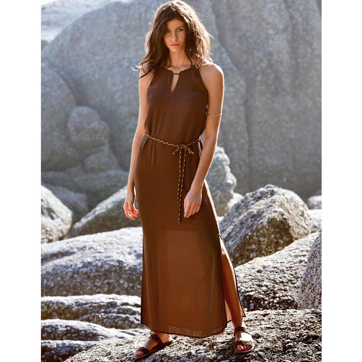 Платье длинное из крепаПлетеная кулиска с добавлением металлизированных нитей на вырезе.<br><br>Цвет: каштановый<br>Размер: 34 (FR) - 40 (RUS).36 (FR) - 42 (RUS)