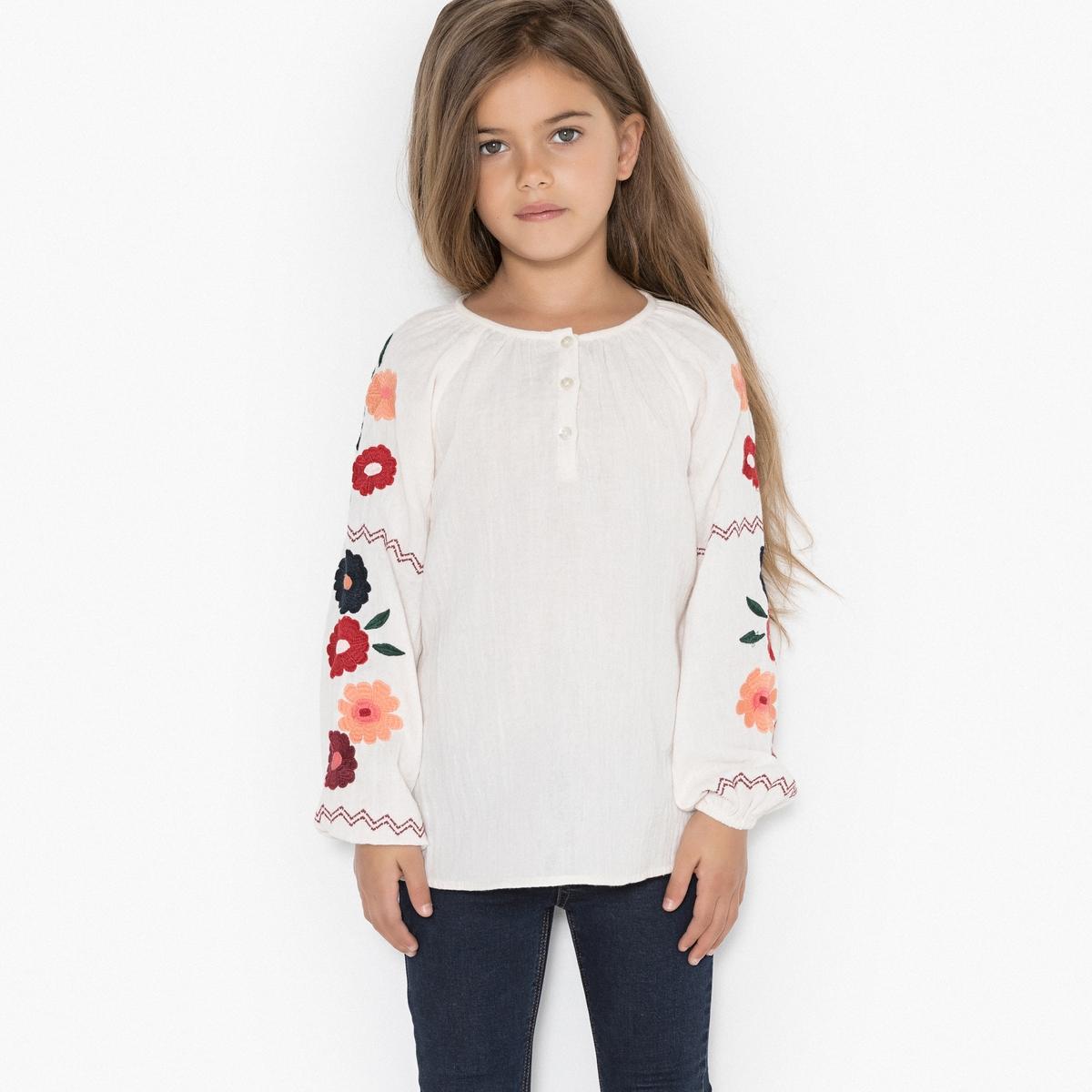 Блузка с вышивкой, 3-12 лет
