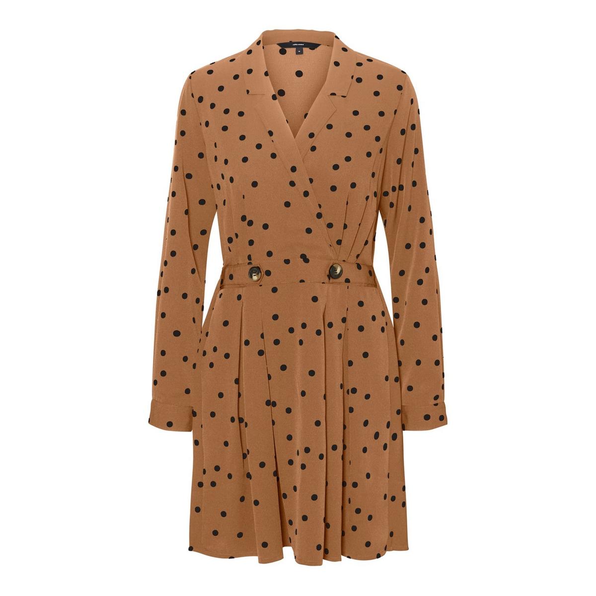 цена Платье La Redoute Расклешенное с V-образным вырезом и рисунком в горошек L каштановый онлайн в 2017 году