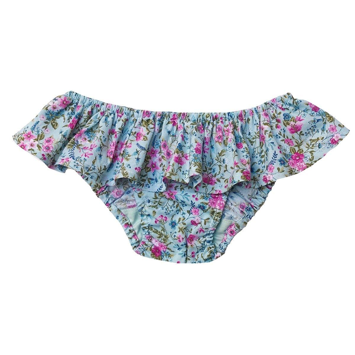 Maillot de bain volant en coton motif fleuri NINA