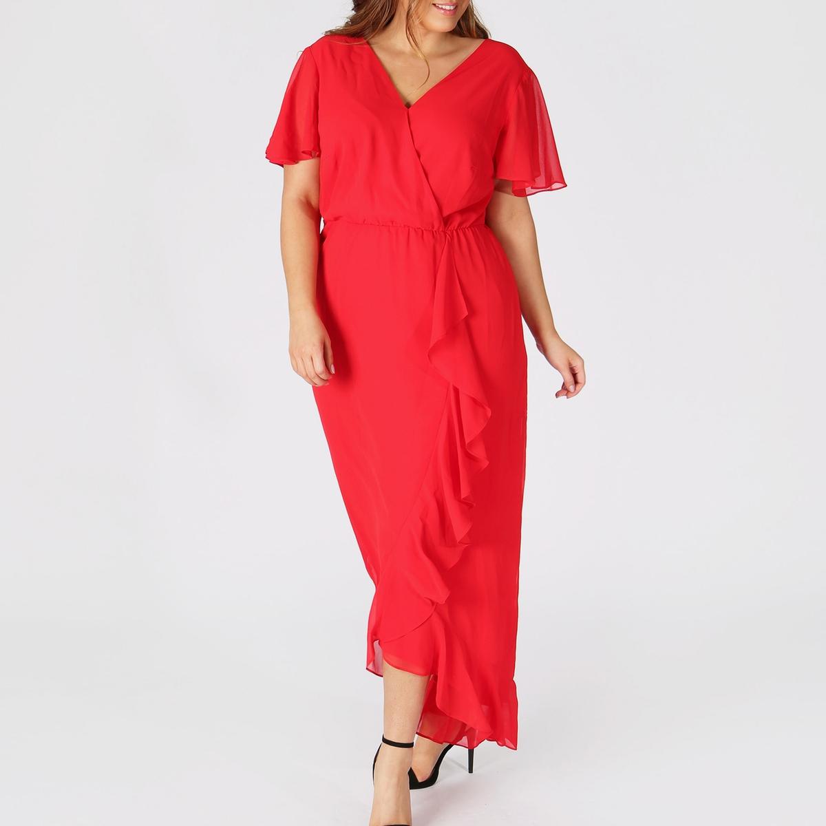 Платье La Redoute С глубоким V-образным вырезом и открытой спинкой 50 (FR) - 56 (RUS) красный candy girl платье голубое с открытой спинкой