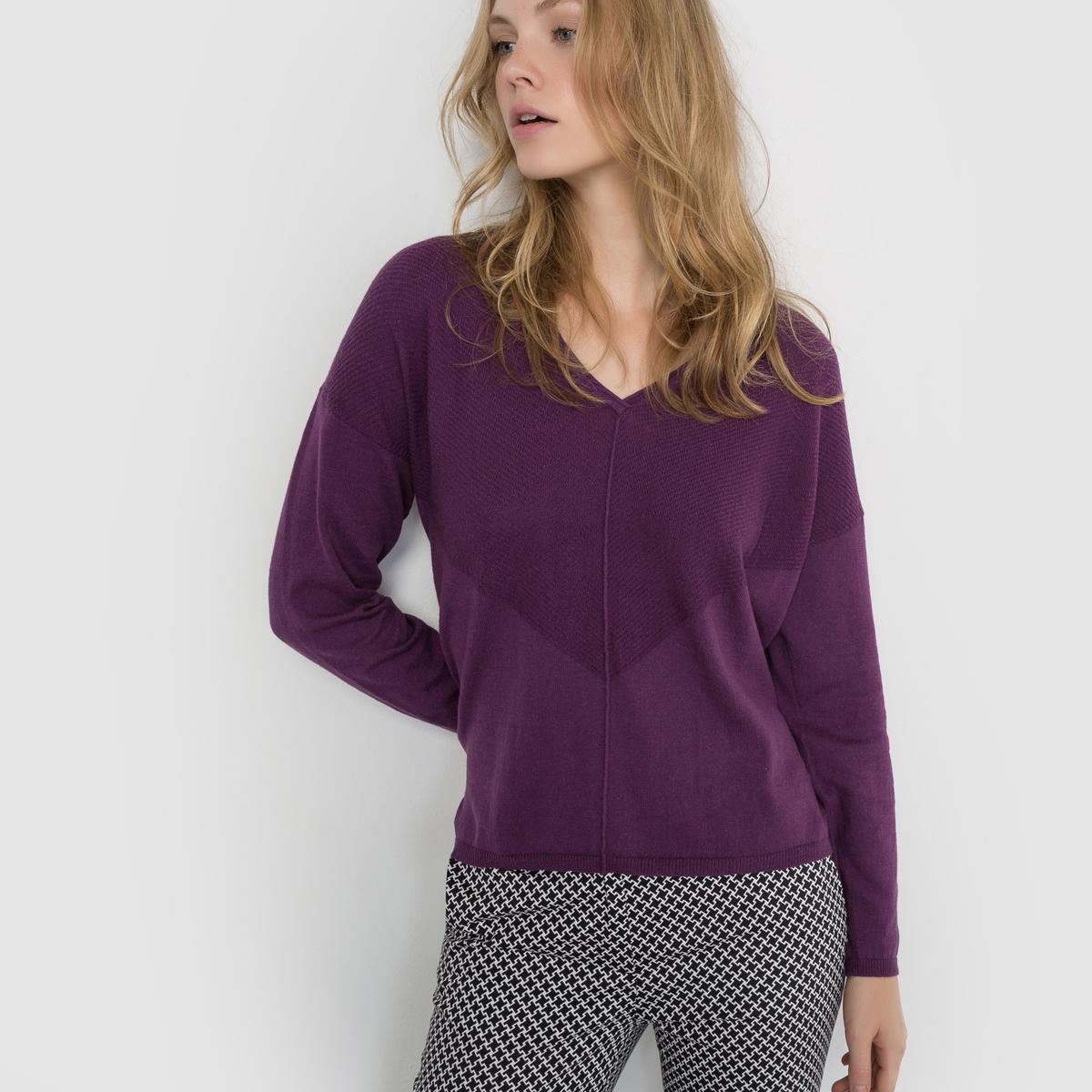 Пуловер из хлопка/кашемира с V-образным вырезом