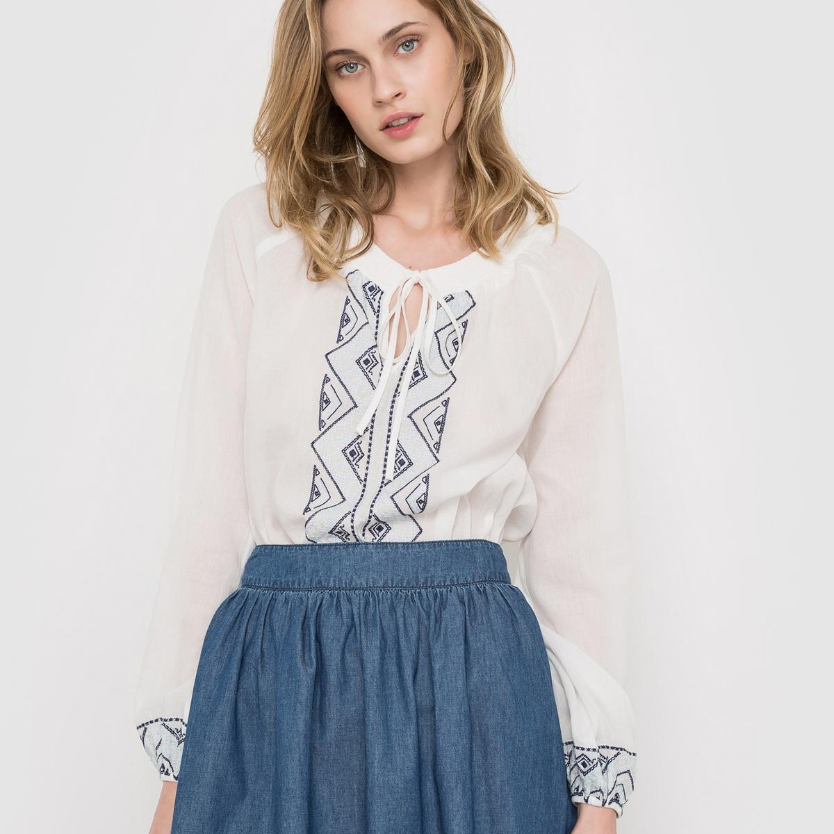 Блузка с длинными рукавами, с вышивкой