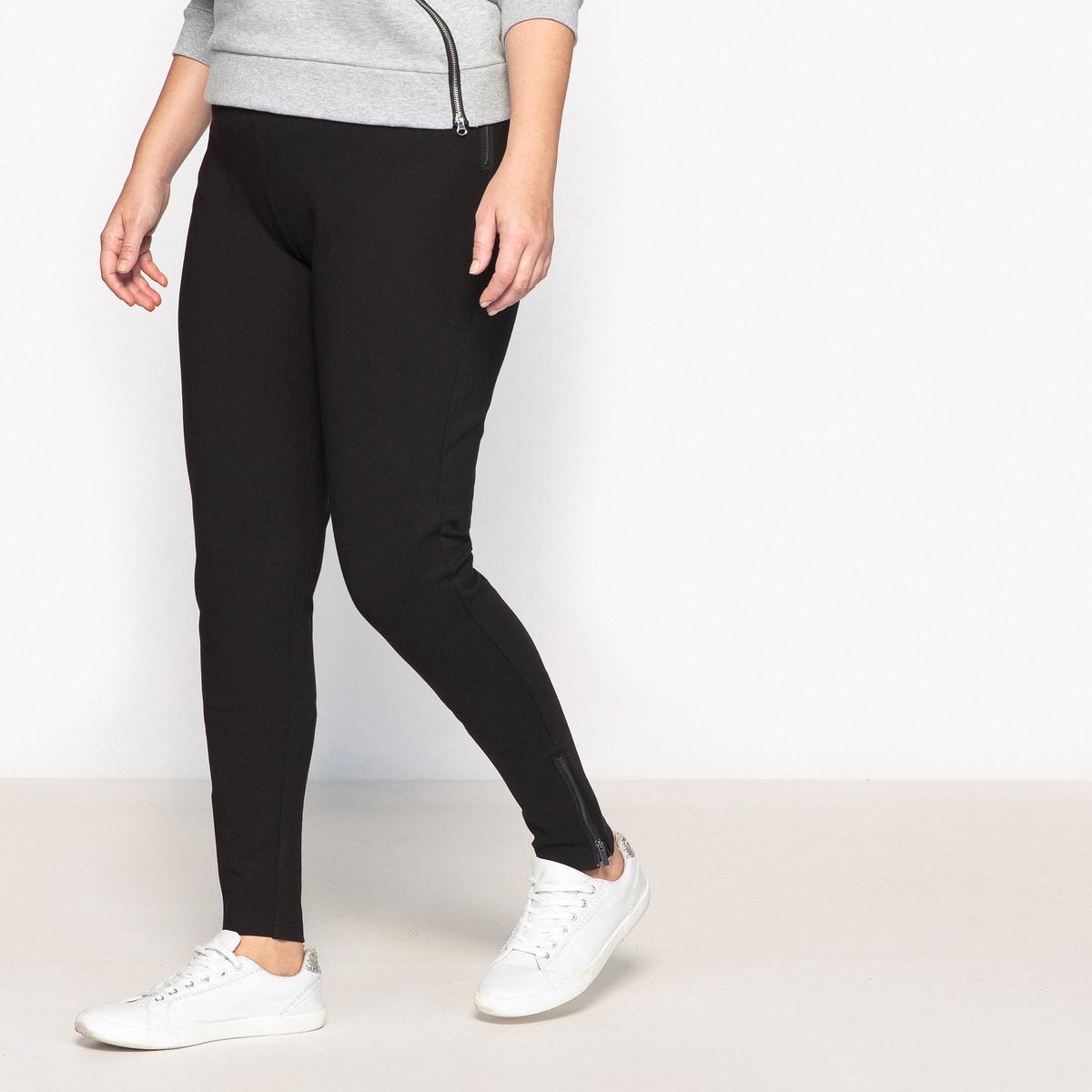 Брюки-слим трикотажные с молниями снизуОписание:Трикотажные брюки-слим - неотъемлемый предмет базового гардероба. Зауженный покрой визуально делает силуэт выше. Очень комфортные брюки-слим незаменимы в вашем гардеробе.Детали •  Узкие, дудочки •  Высокий пояс •  Эластичный поясСостав и уход •  72% вискозы, 5% эластана, 23% полиамида •  Температура стирки 30° на деликатном режиме  •  Сухая чистка и отбеливание запрещены •  Не использовать барабанную сушку •  Низкая температура глажкиТовар из коллекции больших размеров •  Длина по внутр.шву 71 см<br><br>Цвет: черный<br>Размер: 54 (FR) - 60 (RUS).48 (FR) - 54 (RUS)
