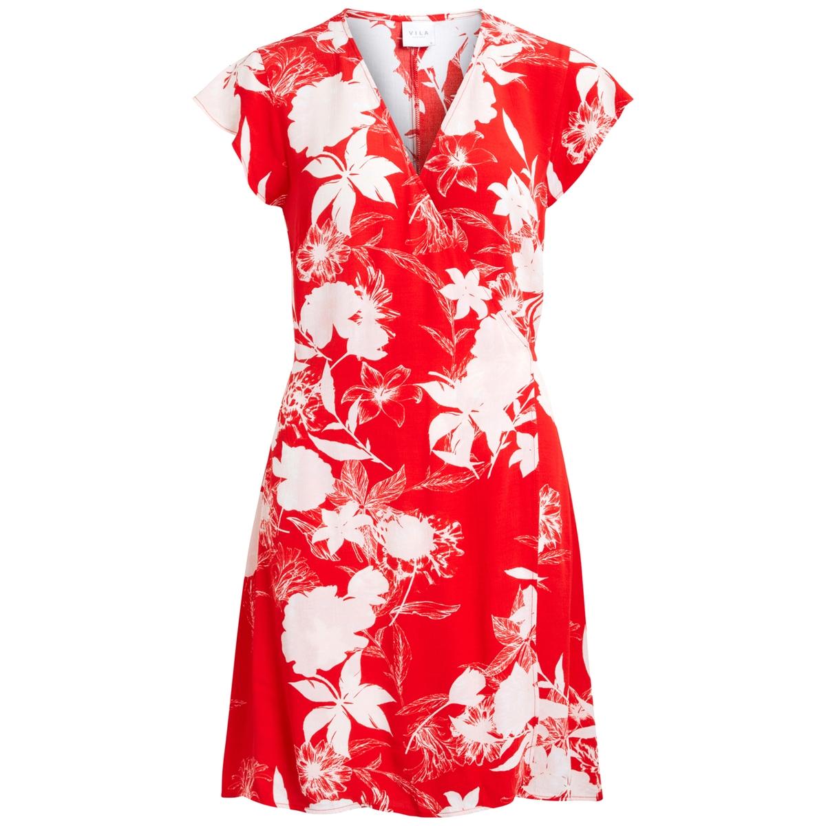 Платье с запахом и принтомМатериал : 100% вискоза  Длина рукава : короткие рукава  Форма воротника : V-образный вырез Покрой платья : с запахом Рисунок : принт   Длина платья : до колен<br><br>Цвет: наб. рисунок красный