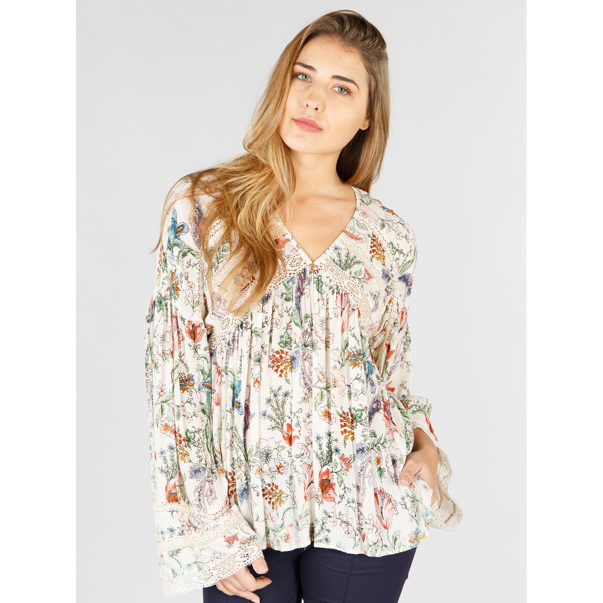 Блузка с V-образным вырезом, цветочным рисунком и длинными рукавами блузка с v образным вырезом cirque