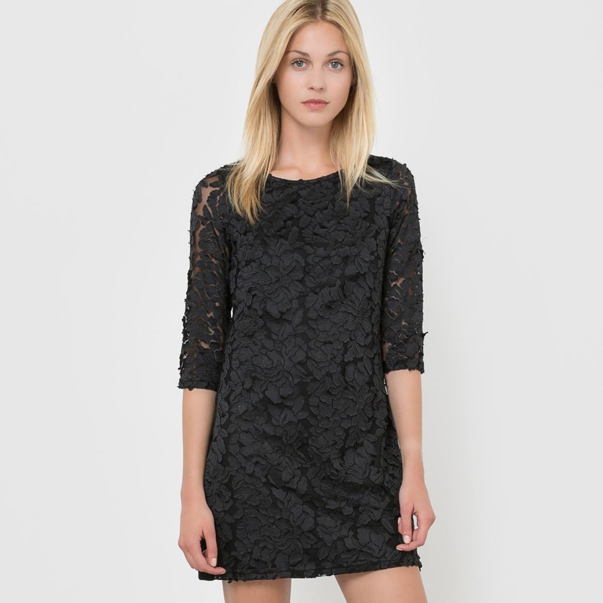 Платье с рукавами 3/4Состав и описаниеМатериал: 100% полиэстера.     Марка: MOLLY BRACKEN.<br><br>Цвет: черный<br>Размер: S