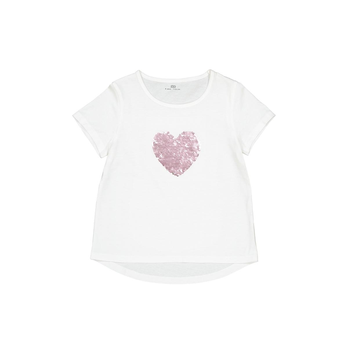 "T-shirt ""cuore"" in paillettes double face da 3 a 12 anni"
