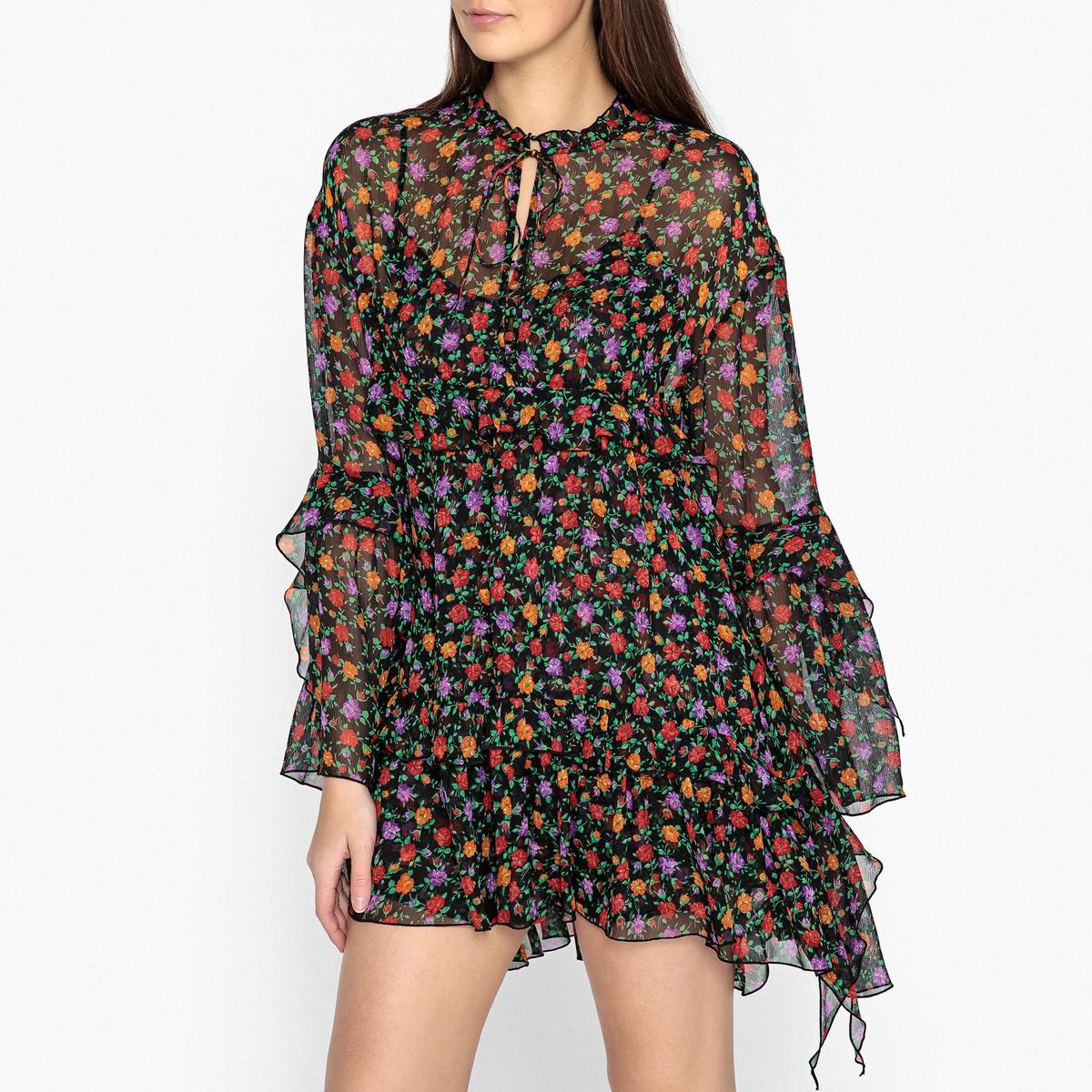 Платье короткое из вуали с принтом и цветочным рисунком цена 2017