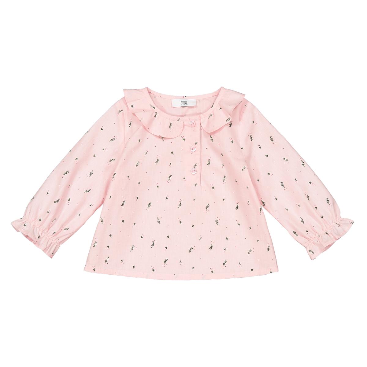 Блузка La Redoute С воротником и рисунком листочки месяц- года 1 мес. - 54 см розовый блузка la redoute с отложным воротником с вышивкой мес года 1 мес 54 см красный