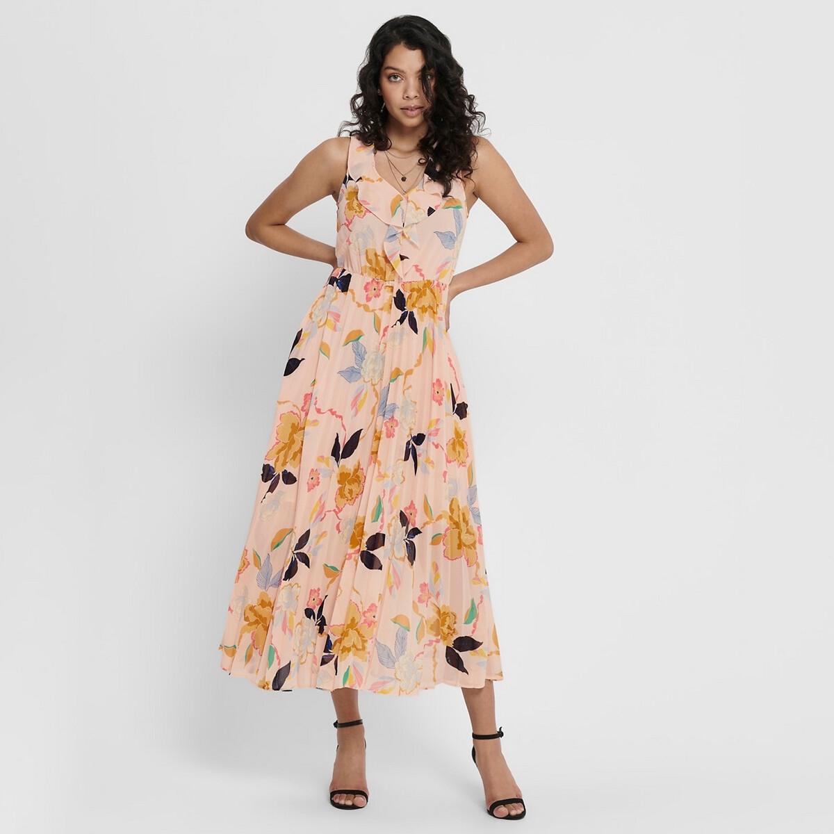 Платье La Redoute Длинное без рукавов декольте с воланами 38 (FR) - 44 (RUS) розовый