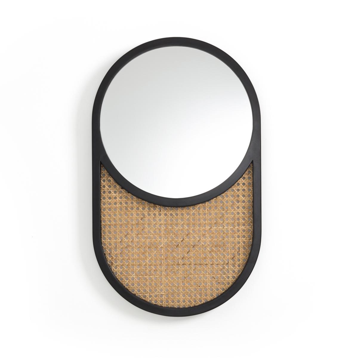 Зеркало LaRedoute Из дуба и плетеного ротанга Waska единый размер черный