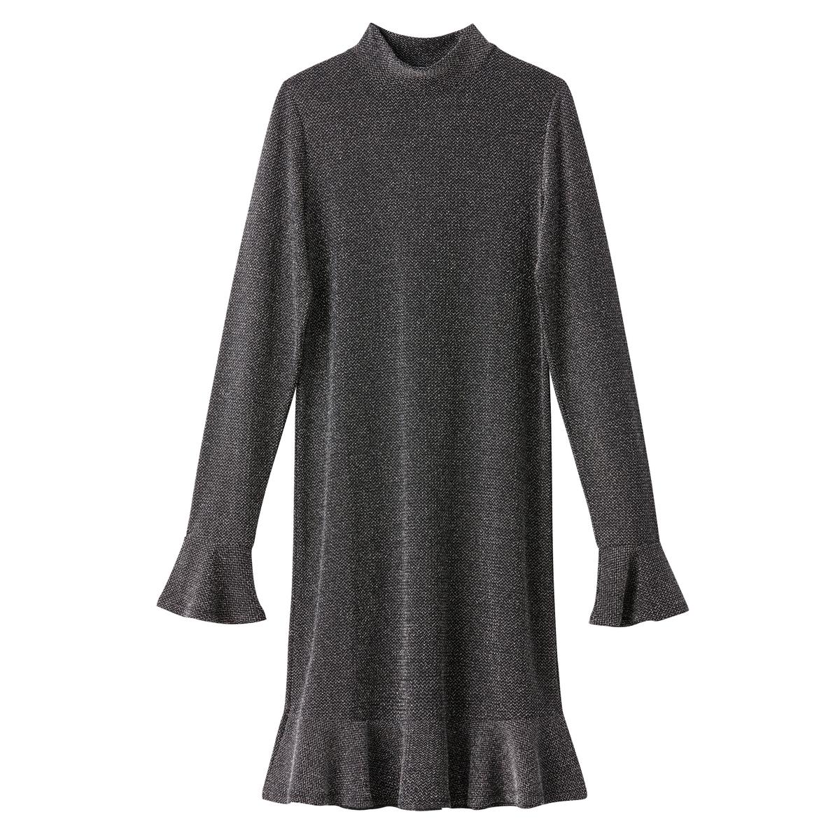 Платье однотонное короткого и расклешенного покроя с длинными рукавамиОписание:Детали •  Форма : расклешенная •  Укороченная модель •  Длинные рукава    •  Воротник-стойкаСостав и уход •  8% эластана, 31% металлизированных волокон, 61% полиамида •  Температура стирки 30° на деликатном режиме   •  Сухая чистка и отбеливание запрещены    •  Не использовать барабанную сушку •  Не гладить<br><br>Цвет: разноцветный,серебристый металлик<br>Размер: S.XXL.L.M.S.XXL.XL.M