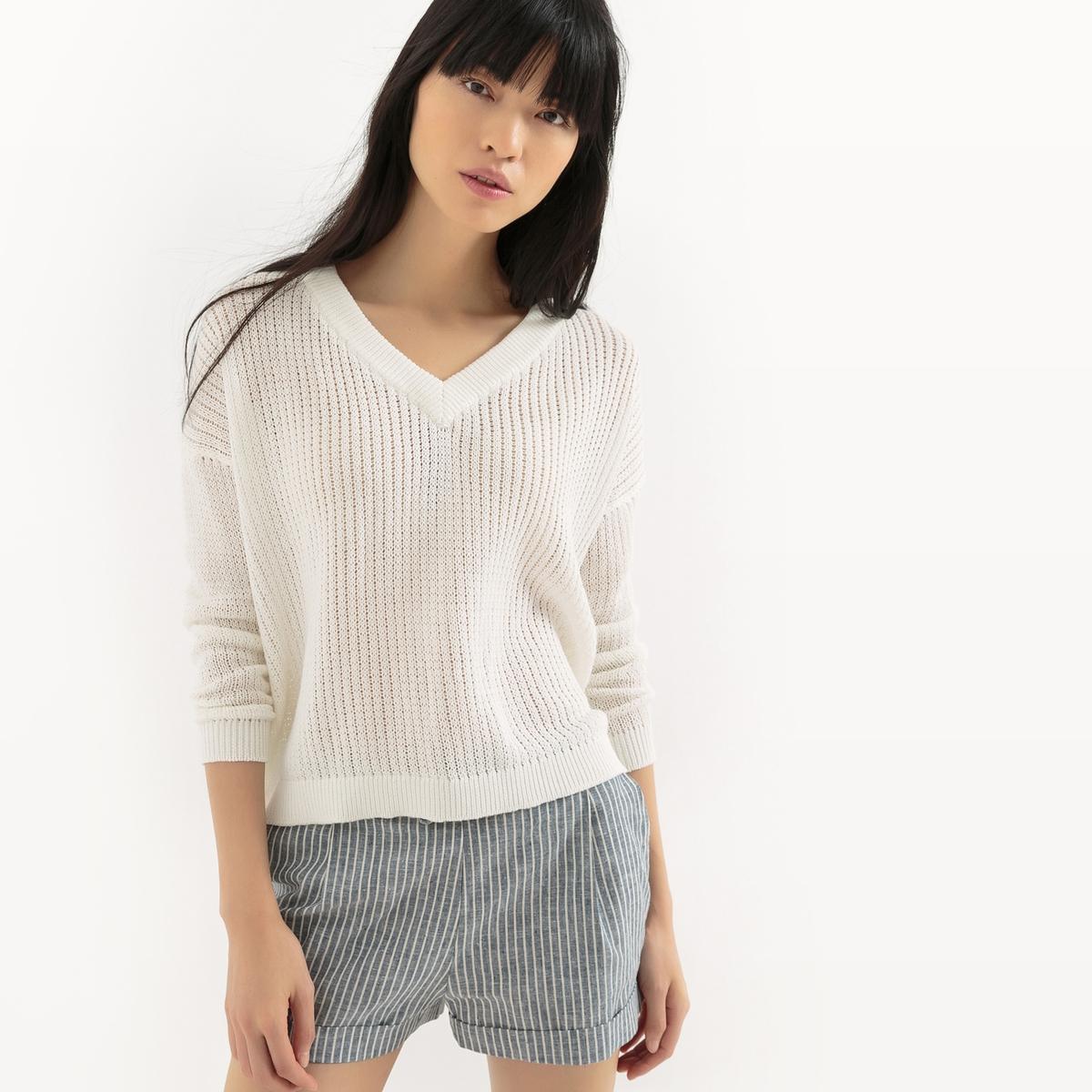 Пуловер ажурный с эффектом кружева