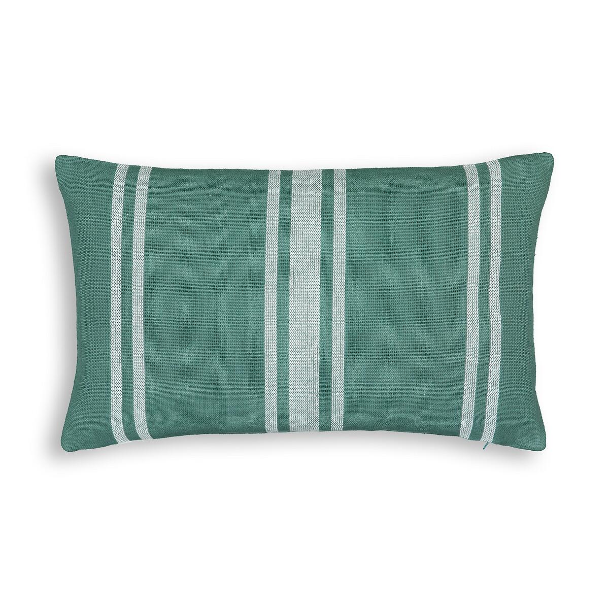 Чехол LaRedoute На подушку в полоску из 100 хлопка Minille 50 x 30 см зеленый пододеяльник laredoute из 100 хлопкового сатина в полоску 240 x 220 см зеленый